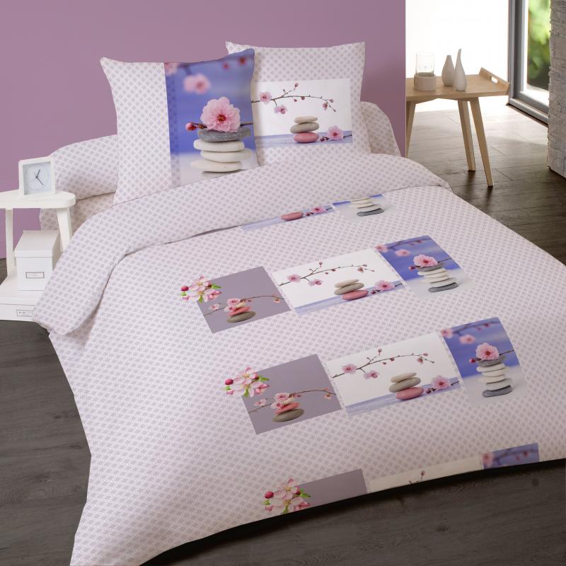 housse de couette 220 x 240 zen attitude pur coton 2 taies offertes interblanc. Black Bedroom Furniture Sets. Home Design Ideas