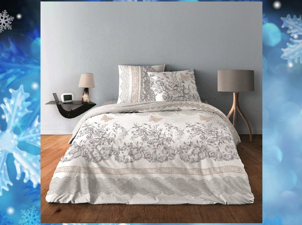 """Housse de couette collection """"LUXE"""" Chabby chic gris 220 x 240 cm"""